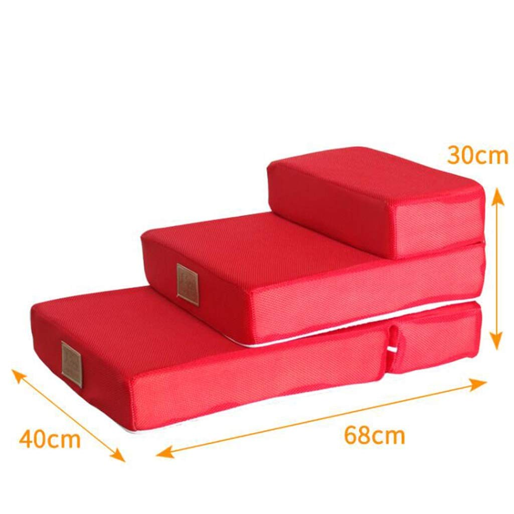 F 40x68x30cmZPWSNH 2story pet stair foldable pet dog training game stair sponge steps climb stairs Pet stairs (color   E, Size   40x50x20cm)