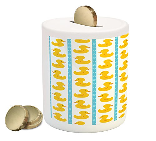 Rubber Duck Coin Box Bank by Ambesonne, Yellow Duckies with Blue Stripes and Small Circles Baby Nursery Play Toys Pattern, Printed Ceramic Coin Bank Money Box for Cash Saving, White (Duckie Bank)