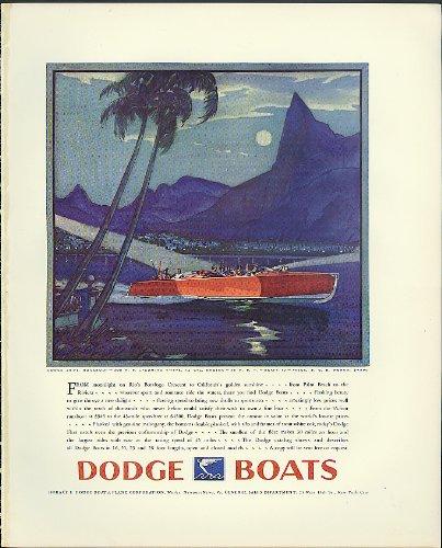 Moonlight on Rio's Botafago Crescent Dodge 28-ft Runabout speedboat ad 1930