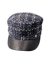 OMINA Women's Headgear, Flat-Top Plaid Knit Duck Warm Fashion Outdoor