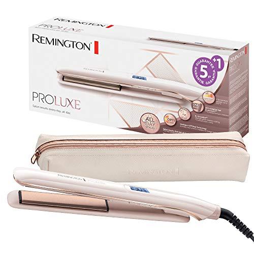 Remington S9100 ProLuxe - Plancha de Pelo, Cerámica, Digital, 9 ajustes, Rosa Metalizado