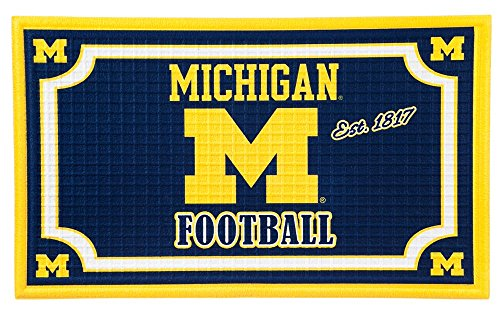 Team Sports America Michigan Wolverines Embossed Floor Mat, 18 x 30 (Michigan Floor)