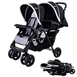 Lightweight Double Tandem Baby Stroller with Umbrella Cover For 2, With Infants, Toddlers