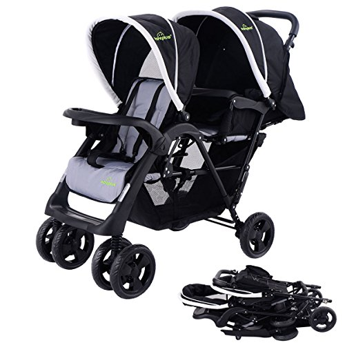 Lightweight Double Tandem Baby Stroller with Umbrella Cover For 2, With Infants, Toddlers And Kids, (Black)