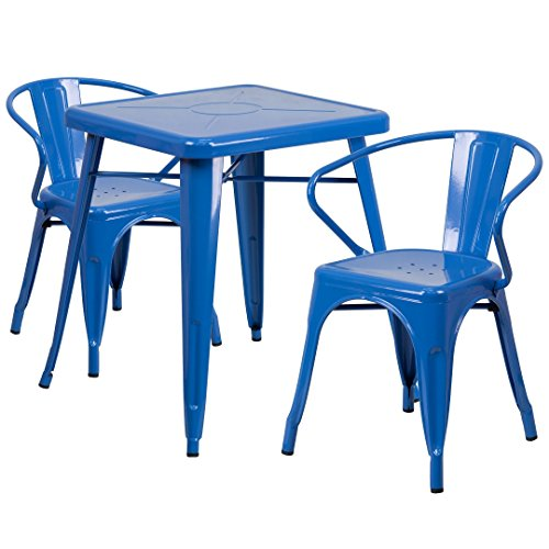 MFO 23.75'' Square Blue Metal Indoor-Outdoor Table Set with 2 Arm Chairs