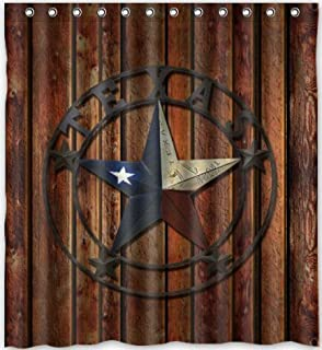 Comfort Home Style Custom Western Texas Star Pattern Design Waterproof  Polyester Fabric Shower Curtain,Bathroom