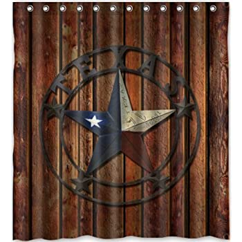 Exceptional Comfort Home Style Custom Western Texas Star Pattern Design Waterproof  Polyester Fabric Shower Curtain,Bathroom