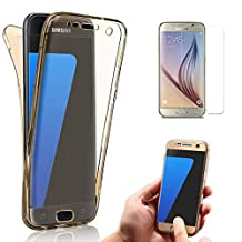 Note 5 Case Cover, Galaxy Note 5 Case, Bonice Full Body 360 Degree Front and Back 2pcs Protective Case TPU Gel Transparent Clear Cover for Samsung Galaxy Note 5 - Gold