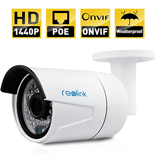 Reolink IP Security Camera 4MP 1440P POE Security IP Camera Outdoor Fixed Bullet, Night Vision 65-100ft,Motion Detection, No Need Power Adapter(RLC-410)