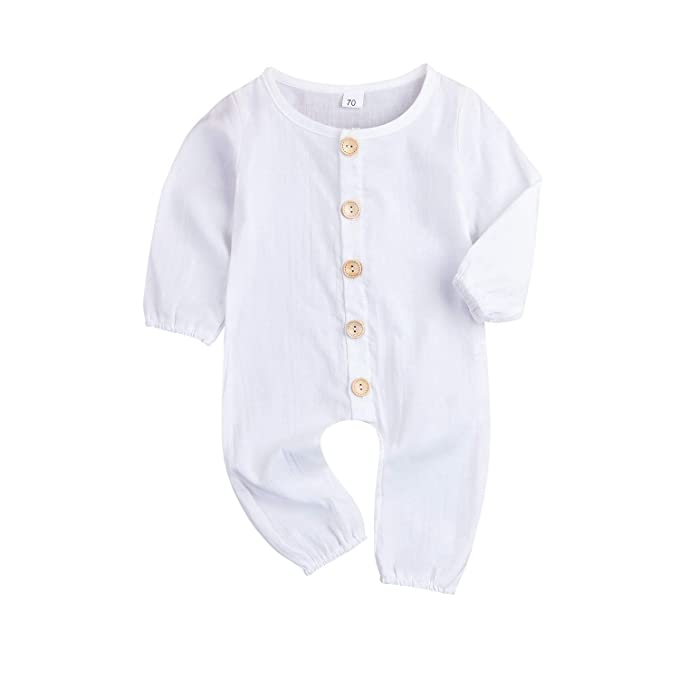 97bea99fee85 XiaoReddou One Piece Outfits Baby Solid White Rompers with Button Kids  Sleeveless Playsuit Jumpsuits Pants Cotton