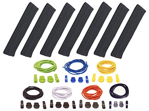 Keds Tie (Elastic Shoelaces & Headbands - 7 Pairs of Stretchy Locking LACES. Awesome Popular Colors. Super Cute Accent to All Your Shoes. 7 HEADBANDS of Premium Triblend: Eco-Friendly Bamboo and Pure Cotton)