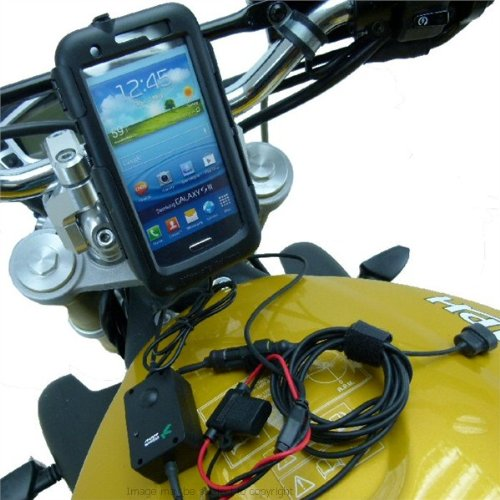 PRO Waterproof Motorcycle 'Direct to Battery' Powered Mount for Samsung Galaxy S3 GT-i9300 / SGH-i747 / SCH-i535 / SPH-L710 / SGH-T999 by Buybits