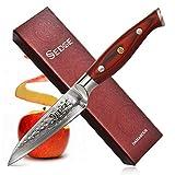 Sedge Paring Knife - Japanese Damascus AUS-10 High Carbon Steel - Peeling knife 4 Inch - Hammered Finish - With Non-Slip Full-tang Ergonomic G10 Handle - SD-H Series