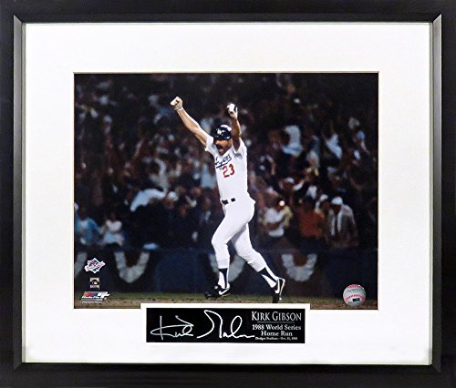 "LA Dodgers Kirk Gibson ""World Series HR"" 11x14 Photograph (SGA Signature Engraved Plate Series) Framed"