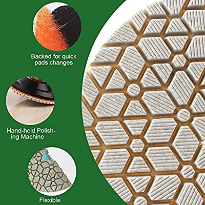 Supper flexible Wet Polishing Pads 4 Inch Diamond Polishing Pads Three 3 Step Polishing Pads For Granite Marble Engineered Stone and other natural stone: Home Improvement