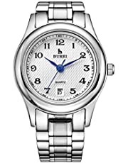 BUREI Women's Date Calendar Quartz Wrist Watches with Arabic Number Analog Black Dial and Silver Stainless Steel Bracelet