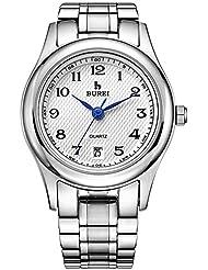 BUREI Womens Dress Watches with Arabic Numerals Date Calendar Stainless Steel Bracelet (white)