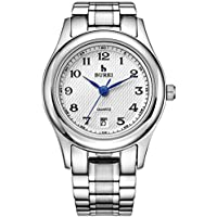 BUREI Women's Date Calendar Quartz Wrist Watches with Arabic Number Analog White Dial and Silver Stainless Steel Bracelet