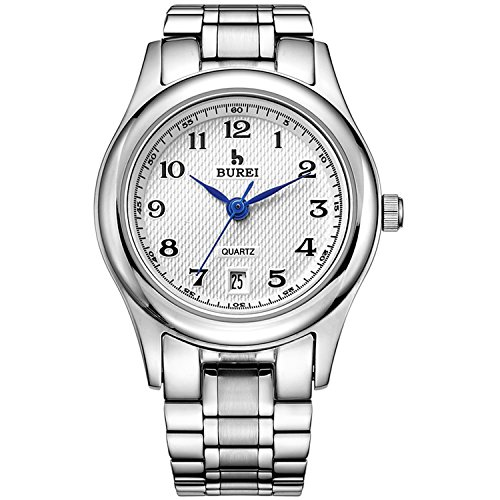 BUREI Women Silver Watches Casual Ladies Watch White Dial with Arabic Numerals Date Calendar Stainless Steel Bracelet