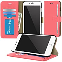 iPhone 6s Plus Case, roocase [Prestige Folio] iPhone 6 Plus 5.5 Wallet Case - [Stand Feature] Premium Synthetic Leather Wallet Case Flip Cover with Credit Card ID Holder for Apple iPhone 6 Plus (5.5), Crimson Rose