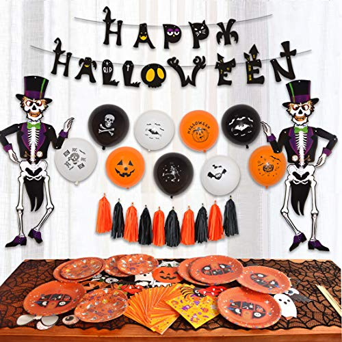85 pcs Halloween Party Supplies Fun Party Favor Decorations, Large Pack of Hanging Skeleton Props, Photo Props, Balloons, Banner, Plates, Napkins, Tassels Included for Halloween Party]()