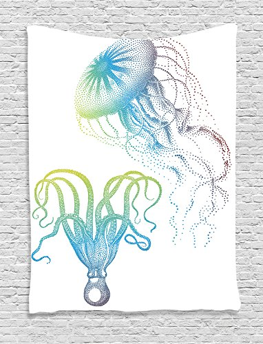 Ambesonne Octopus Decor Collection, Octopus and Jellyfish Illustration Nautical Themed Art Underwater Wildlife Marine Decor, Bedroom Living Room Dorm Wall Hanging Tapestry, Blue White