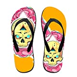 Mens Golden Skull With Roses Pattern Casual Unisex Soft Flippers Flip Flops
