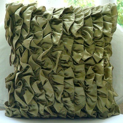 Olive Green Decorative Pillow Cover, Vintage Style Ruffles S