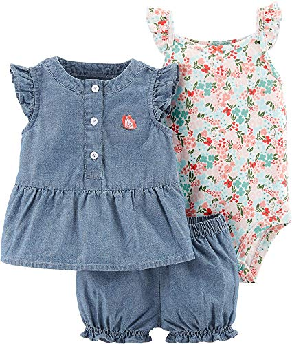Carters Baby Girls 3-pc. Butterfly Chambray Layette Set Newborn Blue/Multi