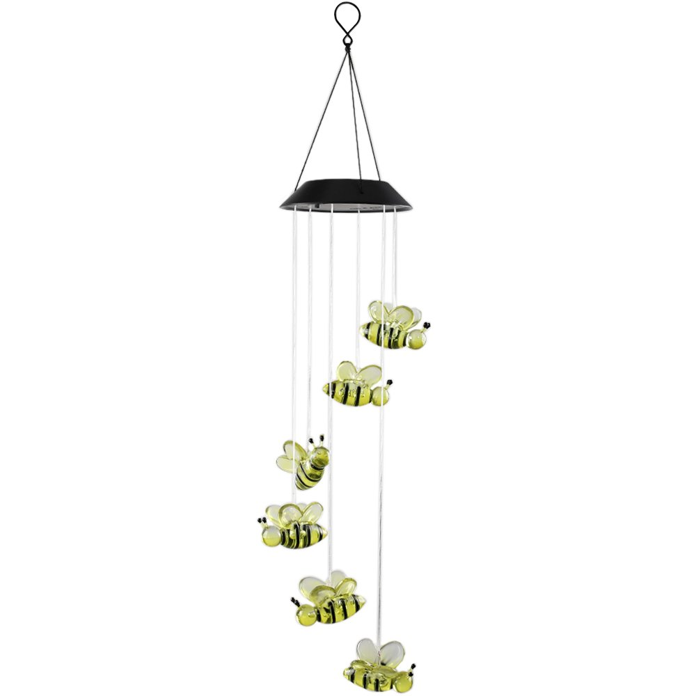 Anpatio Light Control Solar Powered Honeybee Wind Chime Outdoor Waterproof Colour Changing LED Light Romantic Garden Yard Balcony Decoration Best Gift