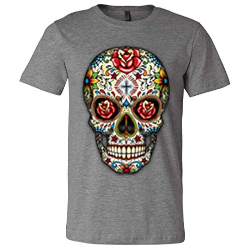 Dia De Los Muertos Sugar Skull Mens Fitted Tee - Deep Heather X-Large]()
