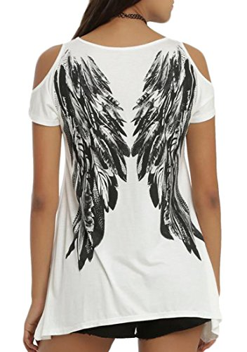 Jaycargogo Women's Wings Print Cold Shouder Shorts Sleeve T-Shirts White XXXL Wing Print Tee