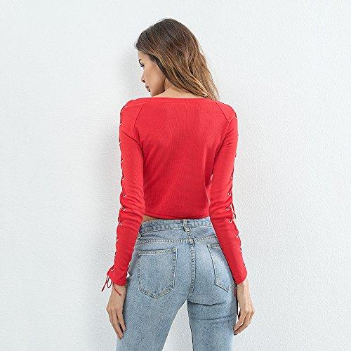 edd765b5def ... Moda Tops Hippie Redondo Cuello Slim Cortos Rojo Ropa Elegantes Bandage  Crop Blusa Fiesta Vintage Shirt ...