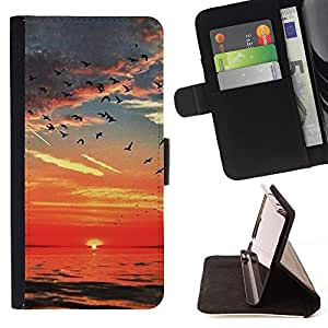 Momo Phone Case / Flip Funda de Cuero Case Cover - Mar Rojo Cielo Aves nubes océano - LG G4 Stylus H540
