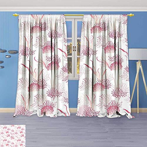 Philiphome 2 Panel Set Digital Printed Window Curtains,Ocean Algae Sea Bed Plants Exotic Underwater Aquatic Shallow Reefs Artwork Pink White for Bedroom Living Room Dining Room