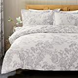 Bedsure Floral Printed Duvet Cover Set King Size White & Grey Chic Vintage Pattern Toile with Zipper Closure 2 pieces - Ultra Soft Hypoallergenic Microfiber Quilt Cover Sets 230x220cm