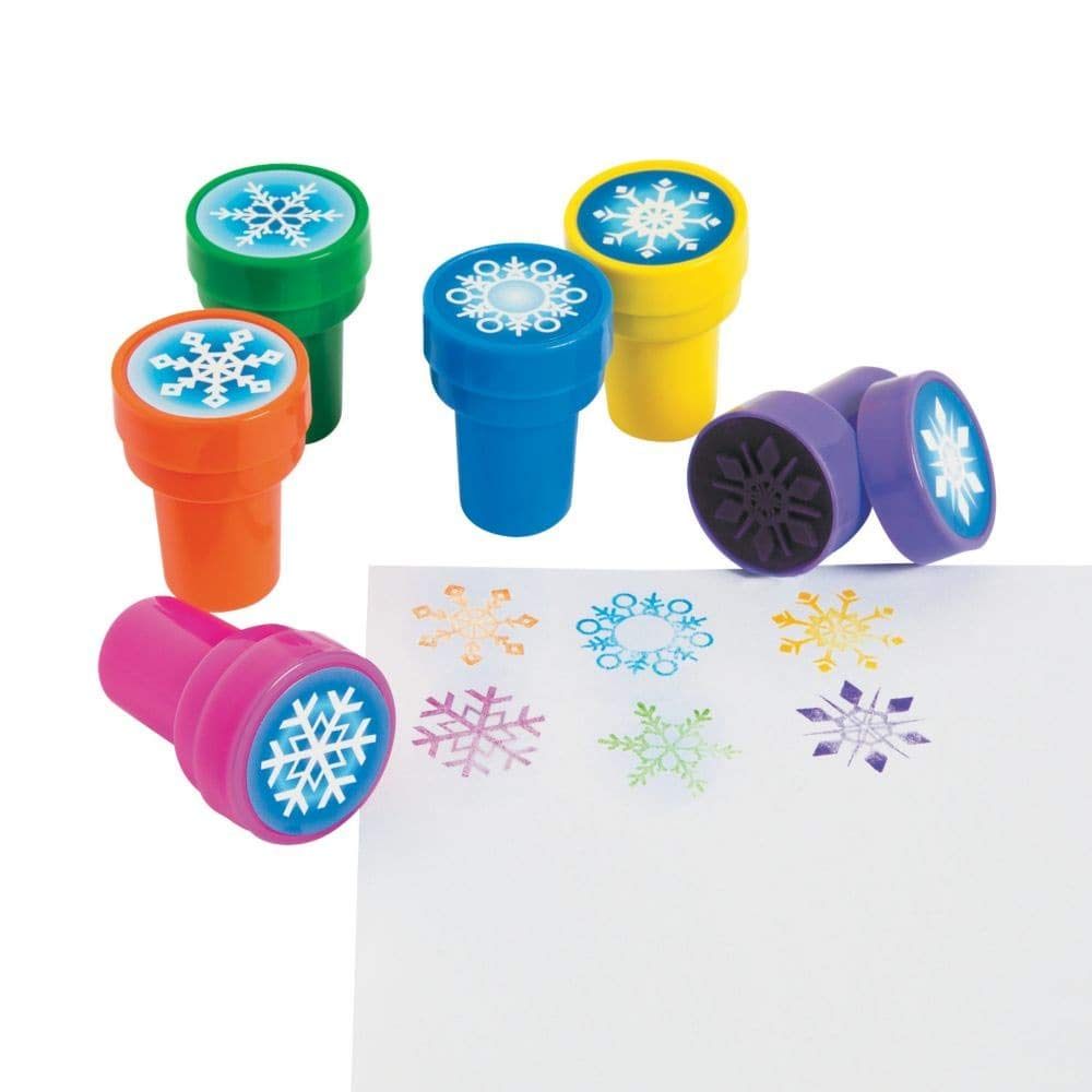 Fun Express Snowflake Stampers - 24 Pc - Christmas Holiday Craft Scrapbooking