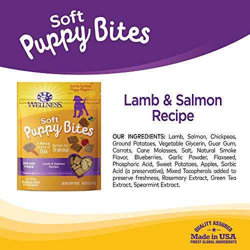 Large Product Image of Wellness Soft Puppy Bites Natural Grain Free Puppy Training Treats, Lamb & Salmon, 3-Ounce Bag