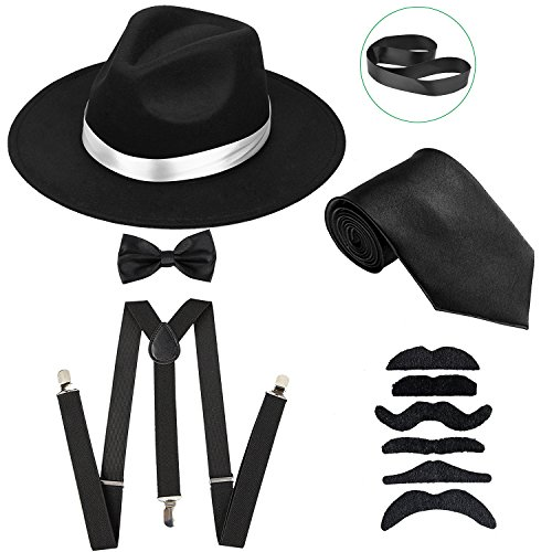 Men's Roaring 1920s Gangster Costume - Deluxe Manhattan Fedora Hat,Suspenders Y-Back Elastic Trouser Braces & Pre Tied Bow Tie,Gangster Tie & Fake Mustache (OneSize, BlackHat & BlackSuspenders) -