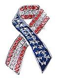 Alilang Silver Tone Crystal Rhinestone 4th of July American USA Flag Patriotic Pin Brooch, Ribbon