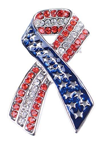 Alilang Silver Tone Crystal Rhinestone 4th of July American USA Flag Patriotic Pin Brooch, Ribbon ()