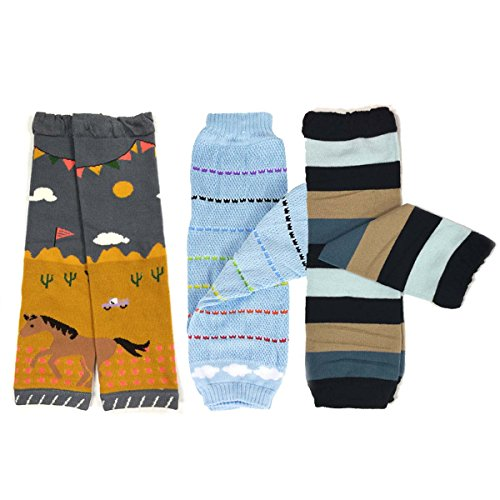 Bowbear Baby 3-Pair Leg Warmers, Desert, Rainbow, Stripes