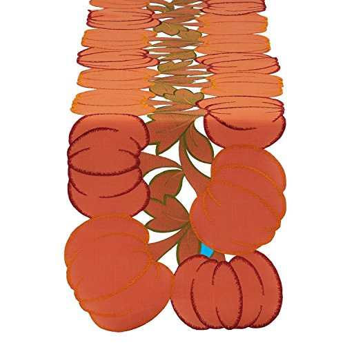 DII 14x70'' Polyester Table Runner, Embroidered Pumpkins - Perfect for Fall, Thanksgiving, Catering Events, or Everyday Use by DII