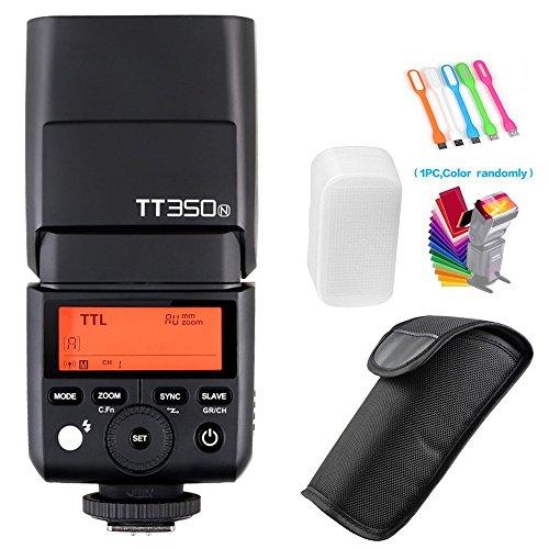 Godox TT350N 2.4G HSS High-Speed Sync 1/8000s TTL GN36 Flash Speedlite Light Compatible for Nikon Mirrorless Digital Camera(TTL autoflash) +Filters & USB LED