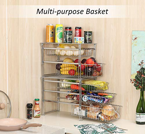 Kitchen TQVAI Stackable 3 Tier Pull Out Under Sink Cabinet Organizer with Sliding Basket Drawer, Chrome Silver pull-out organizers