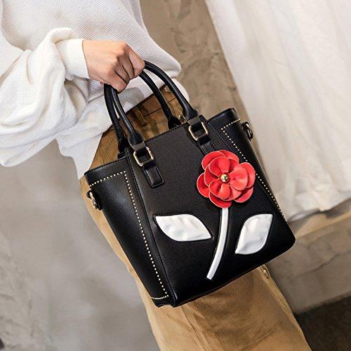 Sra de del Bolso de niñas negro Bolso flores la bolsos hombro para negro mensajero retro de la color bolsos de bolso parte manija superior de de Golpe w1wAxEr