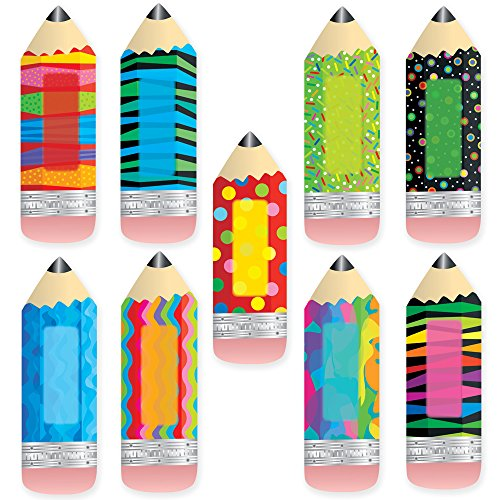 Creative Teaching Press 6-Inch Designer Cut-Outs, Poppin' Patterns Pencils (3885)
