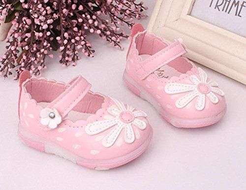 ❆Huhu833 Kinder Mode Baby Schuhe Soft Sole, LED Leuchtendes Schuhe Baby Kleinkind Karikatur Leder einzelne Schuhe beiläufige flache Schuhe Prinzessin Schuhe (0~18 Month) Rosa
