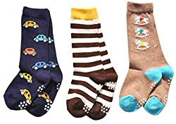 Lian LifeStyle Unisex Baby 3 Pairs Pack Cotton Crew Socks Sizes(0Y-1Y) Cartoon