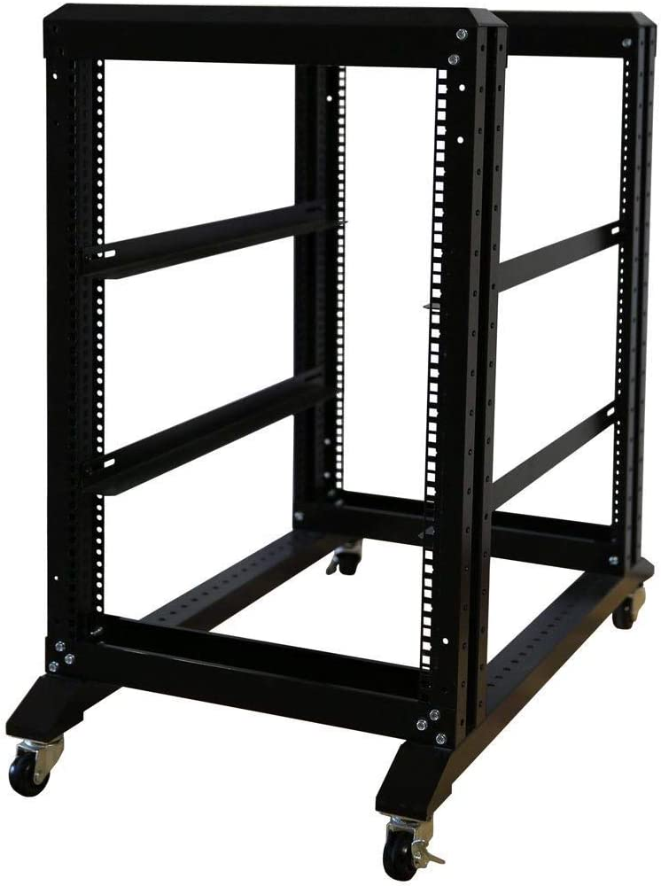 RAISING ELECTRONICS 15U 4 Post Open Frame 19inch Server/Audio Steel Rack 22inch Deep